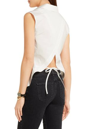 T by ALEXANDER WANG Split-back stretch-cotton poplin shirt