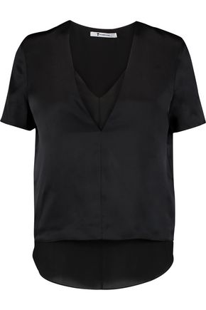 T by ALEXANDER WANG Layered silk-charmeuse and chiffon top