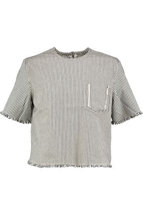 T by ALEXANDER WANG Frayed striped denim top