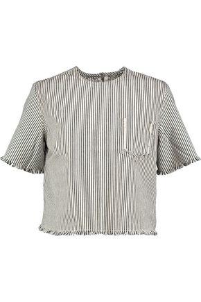 T by ALEXANDER WANG Frayed striped denim top