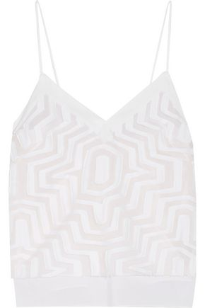 MILLY Aztec fil coupé cotton and silk-blend camisole