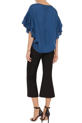 IRIS AND INK Ruffle-trimmed washed-silk top