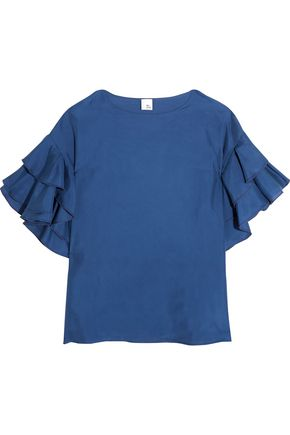 IRIS & INK Ruffle-trimmed washed-silk top