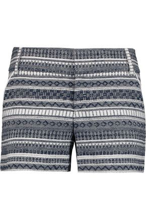 ALICE + OLIVIA Printed cotton-cady shorts