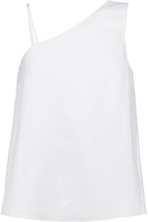 IRIS & INK One-shoulder linen and cotton-blend top