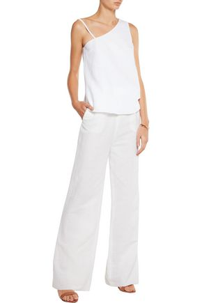 IRIS AND INK One-shoulder linen and cotton-blend top