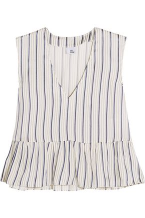 IRIS & INK Striped jacquard peplum top