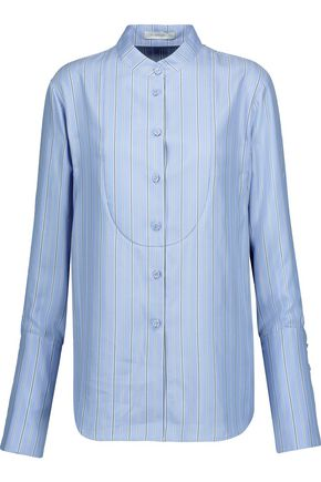 J.W.ANDERSON Pleated striped silk-twill shirt