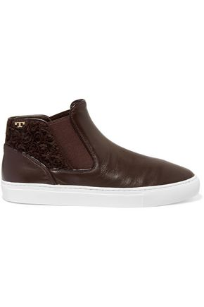 TORY BURCH Rosette appliquéd leather high-top sneakers