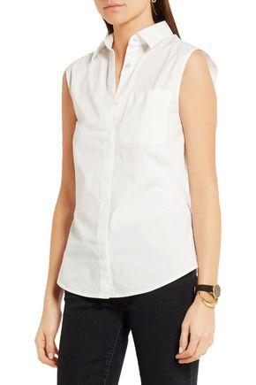 T by ALEXANDER WANG Open-back cotton-blend poplin shirt