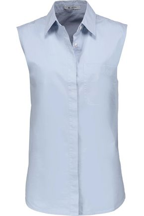 T by ALEXANDER WANG Open-back cotton-blend poplin shirt
