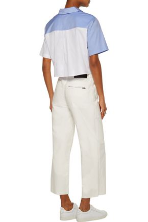 T by ALEXANDER WANG Cropped two-tone twill shirt