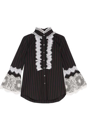 ANNA SUI Lace-trimmed pinstriped cotton-poplin shirt