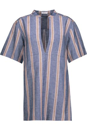 A.L.C. Curt striped linen-blend top