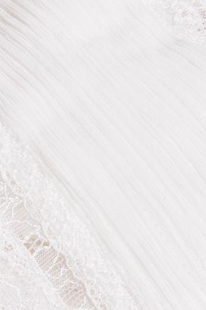 ALICE + OLIVIA Isadora pintucked chiffon and lace top