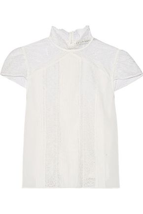 ALICE + OLIVIA Isadora pintucked chiffon and lace top