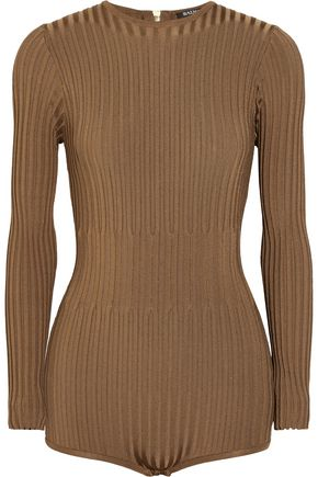 BALMAIN Ribbed stretch-knit bodysuit