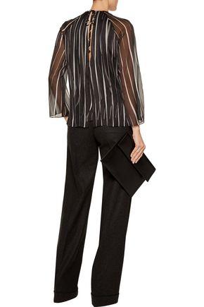 HALSTON HERITAGE Embellished striped georgette blouse