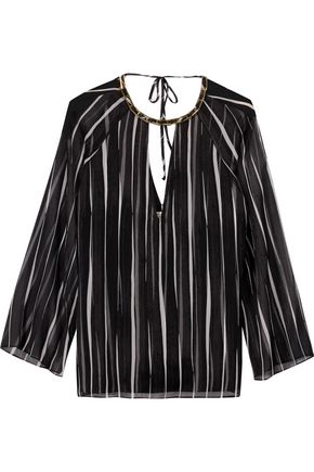 HALSTON HERITAGE Embellished striped georgette blouse