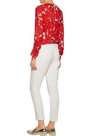 OSCAR DE LA RENTA Pleated printed silk-blend blouse