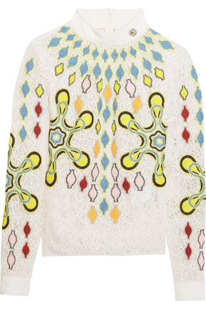 PETER PILOTTO Solitaire embroidered wool-blend lace top