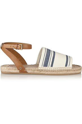 TORY BURCH Striped canvas and leather espadrilles