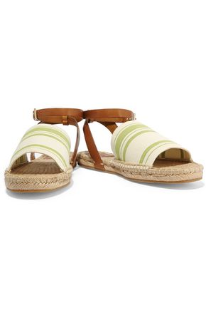 TORY BURCH Striped canvas espadrilles