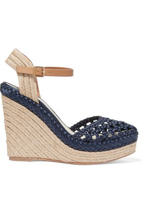 TORY BURCH Solemar leather-trimmed woven satin wedge sandals