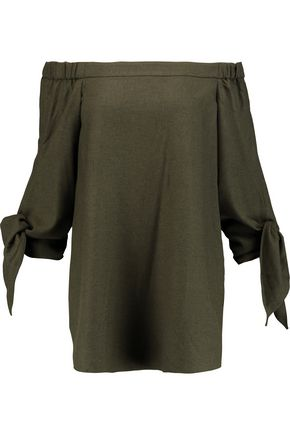 TIBI Owen off-the-shoulder twill tunic
