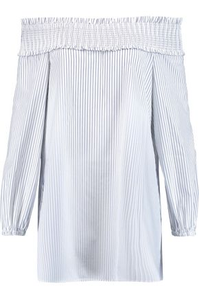 TIBI Samuel off-the-shoulder striped cotton-blend top
