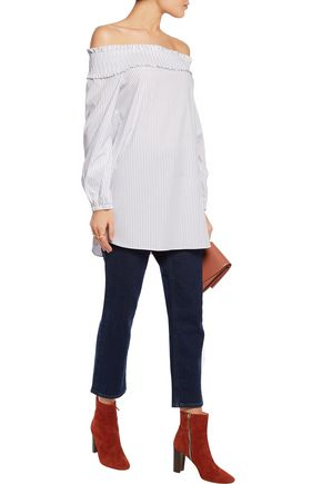 TIBI Samuel off-the-shoulder striped cotton-blend top
