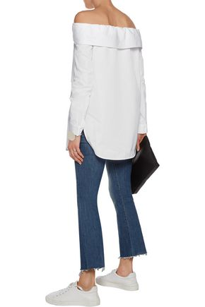 TIBI Off-the-shoulder cotton-poplin top