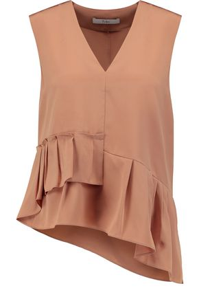 TIBI Asymmetric ruffled silk-crepe top