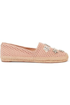 TORY BURCH Brillare embellished tulle espadrilles