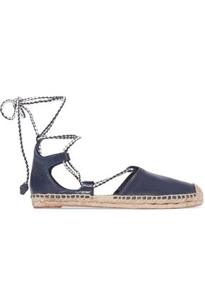 TORY BURCH Positano lace-up leather espadrilles
