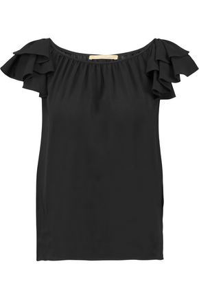 MICHAEL KORS COLLECTION Ruffle-trimmed silk crepe de chine blouse