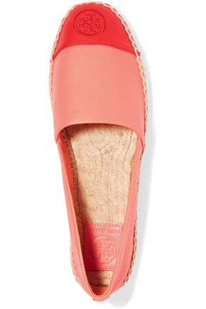 TORY BURCH Two-tone leather espadrilles
