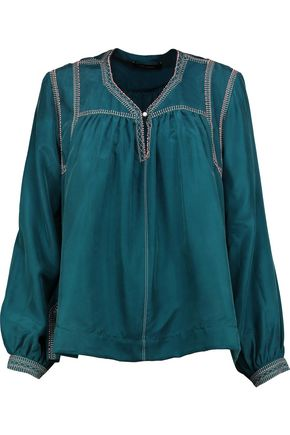 ISABEL MARANT Lamar embellished embroidered washed-silk blouse