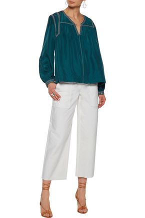 ISABEL MARANT Lamar embellished embroidered washed-silk blouse