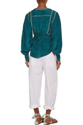 ISABEL MARANT Lisa embellished washed-silk wrap blouse