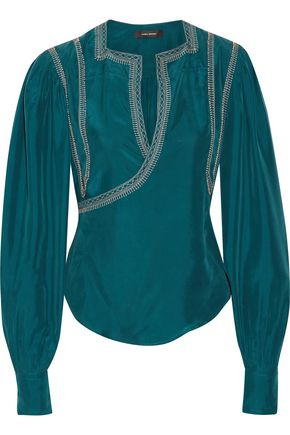ISABEL MARANT Lisa embellished washed-silk wrap blouse