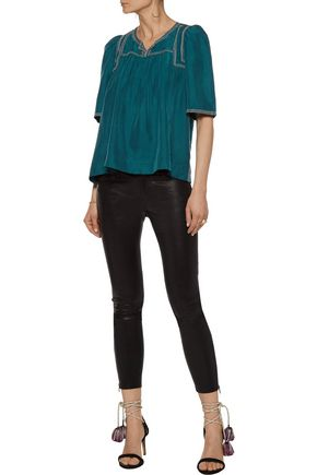 ISABEL MARANT Livia pleated embellished embroidered silk top