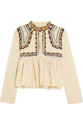 ISABEL MARANT Sachi cropped embellished cotton top