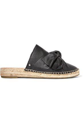 SAM EDELMAN Lynda bow-embellished leather espadrille slippers