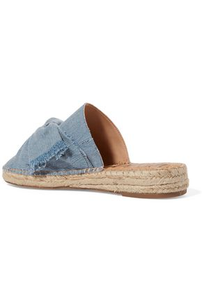 SAM EDELMAN Lynda bow-embellished leather espadrille slippers