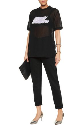 CARVEN Printed embroidered cotton-blend T-shirt