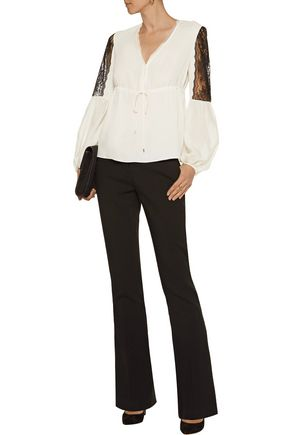 RACHEL ZOE Maeve lace-paneled silk-crepe top