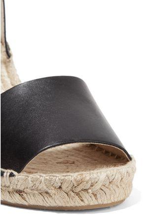 SOLUDOS Metallic leather wedge espadrilles