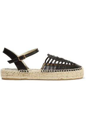 SOLUDOS Huarache cutout leather espadrilles