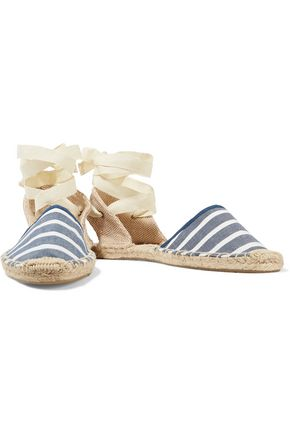 SOLUDOS Lace-up striped canvas espadrilles